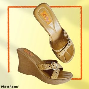Vintage Y2K Style Square Toe Wedge Strappy Sandals